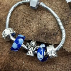 Small/child's charm bracelet with angel and blue charms