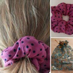 Hair scrunchie. Pure silk polka dot in an organza gift bag
