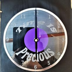 """Time is Precious"" Recycled & Engraved Glass wall clock"