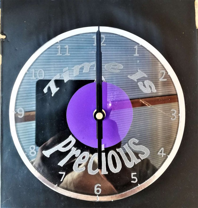 """Time is Precious"" Recycled & Engraved Glass wall clock 1"