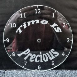 """Time is Precious"" Recycled & Engraved Glass wall clock 3"