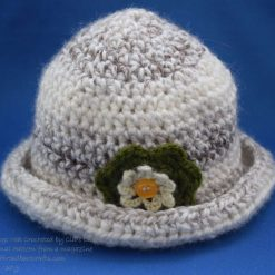 Crocheted Vintage Hat with Flower