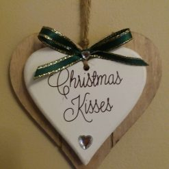 Wooden Heart Tree or Wall hanging Christmas Decoration with Dark Green Bow