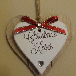 Wooden Heart Tree or Wall hanging Christmas Decoration with Red Bow