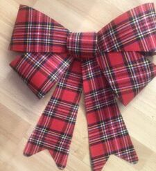 Wedding car bow kit red tartan large with matching wide ribbon   Kit contains bow and ribbon