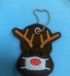 Funny mask Rudolph reindeer brooch. Embroidered on felt (*50p donated to Edinburgh dog &cat Home)