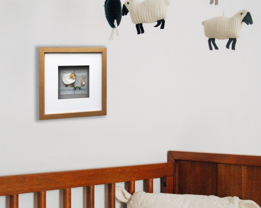Custom Made 3D Woolly Sheep Framed/Handmade Gift Hanging Wall Picture 2