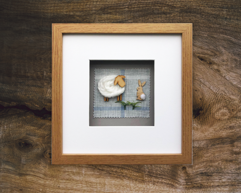 Custom Made 3D Woolly Sheep Framed/Handmade Gift Hanging Wall Picture 3