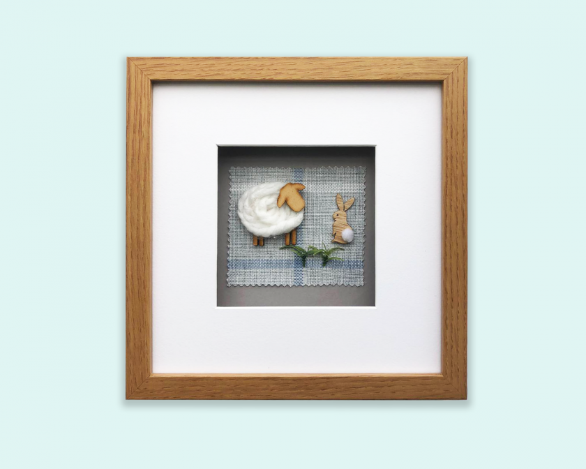 Custom Made 3D Woolly Sheep Framed/Handmade Gift Hanging Wall Picture 1