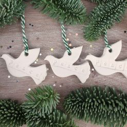 """Handcrafted Ceramic """"Peace Doves"""" Set of 3 Christmas Decorations"""