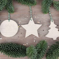 "Handcrafted Ceramic ""Nordic Trio"" Set of 3 Christmas Decorations"