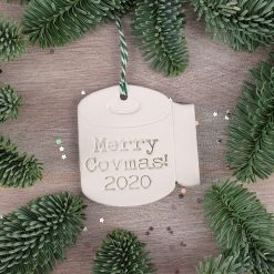 "Handcrafted Ceramic ""Merry Covmas! Loo Roll"" Christmas Decoration"