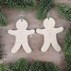 "Handcrafted Ceramic ""Festive Face Covering Compliant Gingerbread Man"" Set of 2 Christmas Decorations"