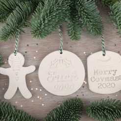 "Handcrafted Ceramic ""2020 Themed"" Set of 3 Christmas Decorations"