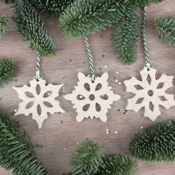 "Handcrafted Ceramic ""Snowflake Trio"" Set of 3 Christmas Decorations"