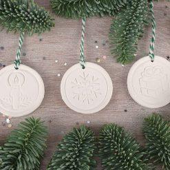 "Handcrafted Ceramic ""Traditional Trio"" Set of 3 Christmas Decorations"