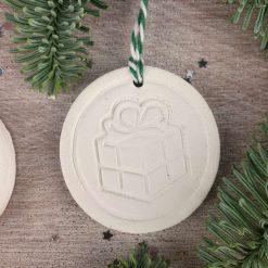"Handcrafted Ceramic ""Traditional Trio"" Set of 3 Christmas Decorations 6"