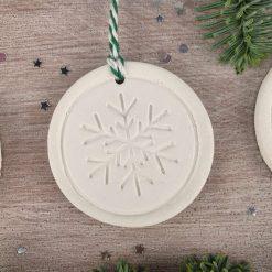 "Handcrafted Ceramic ""Traditional Trio"" Set of 3 Christmas Decorations 8"