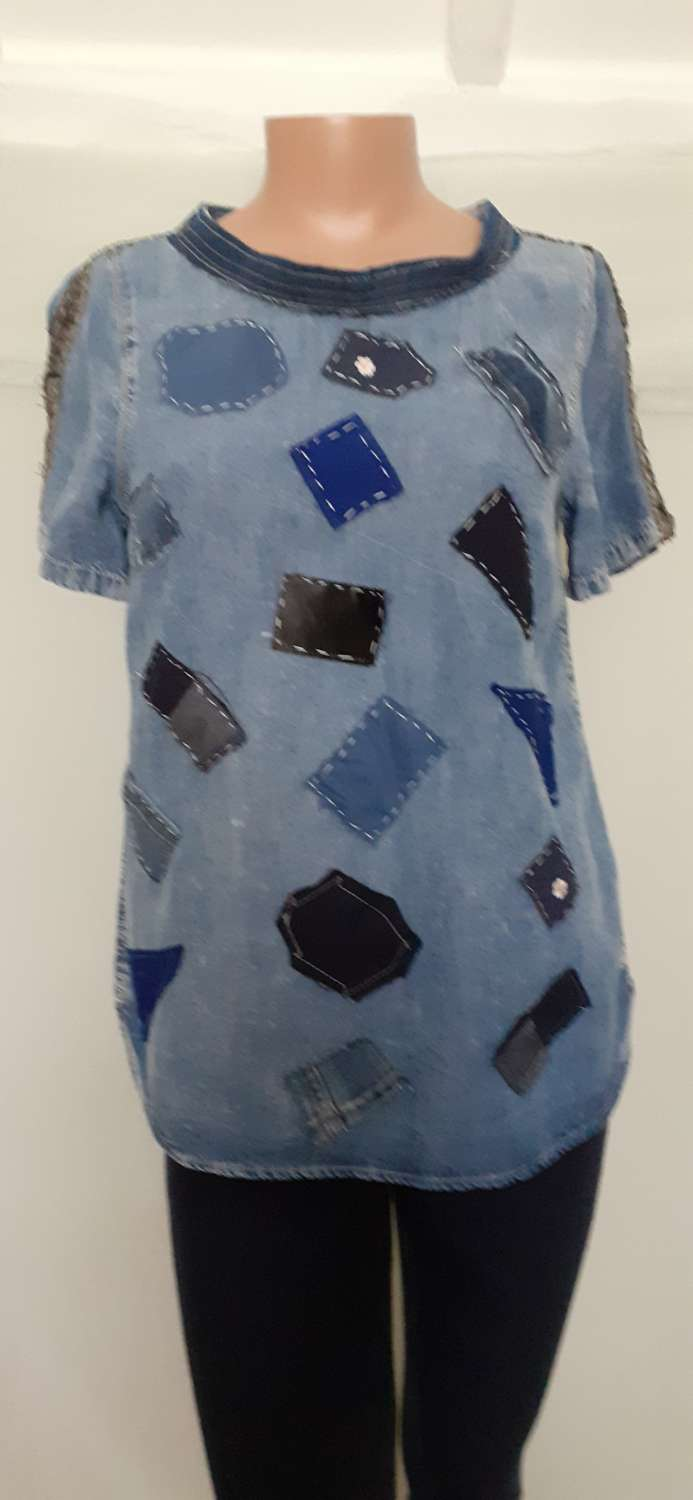 Ladies/girls blue tunic with denim patches, size 8-10 1