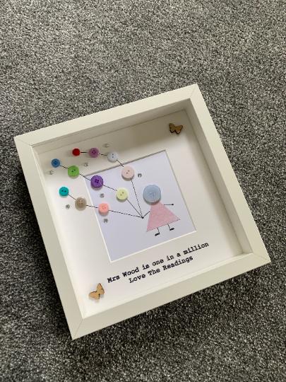 Retirement Frame, Teacher Frame, Teacher Gift, Gift for a Teacher, Frame for Retirement, Gift for Retirement, Personalised Frame, Button 2
