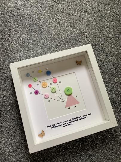 Retirement Frame, Teacher Frame, Teacher Gift, Gift for a Teacher, Frame for Retirement, Gift for Retirement, Personalised Frame, Button 3