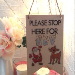Santa Please Stop Here Signs: Can be personalised: Hand-Etched: Father Christmas + Rudolf