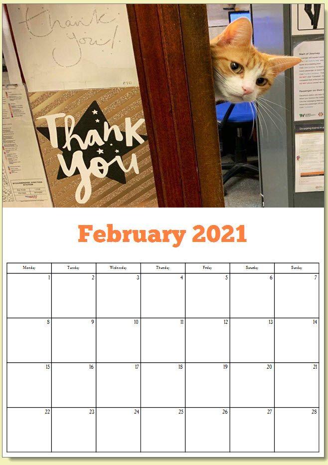 George the Stourbridge Junction Station Cat 2021 Calendar 3