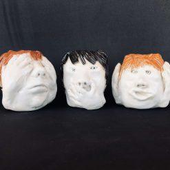 Cute hand-sculpted Ceramic Pots - See No Evil, Speak No Evil, Hear No Evil