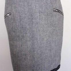 Grey pencil skirt with black trim size 12 5