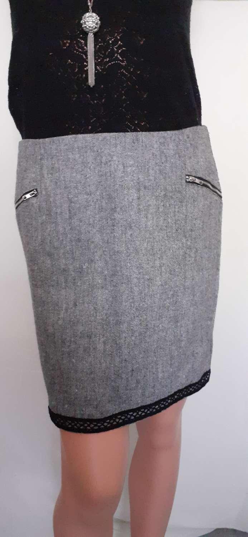 Grey pencil skirt with black trim size 12 1