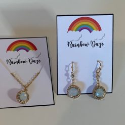 Matching Set of Opal Effect Necklace & Earrings