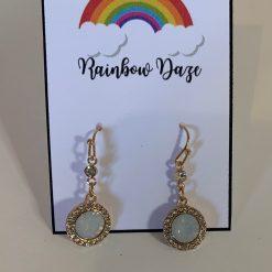 Gold Opal Effect Drop Earrings