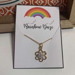 Gold & Diamante Flower Necklace
