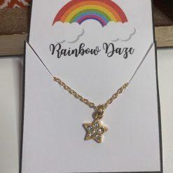 Gold Diamante Star Necklace