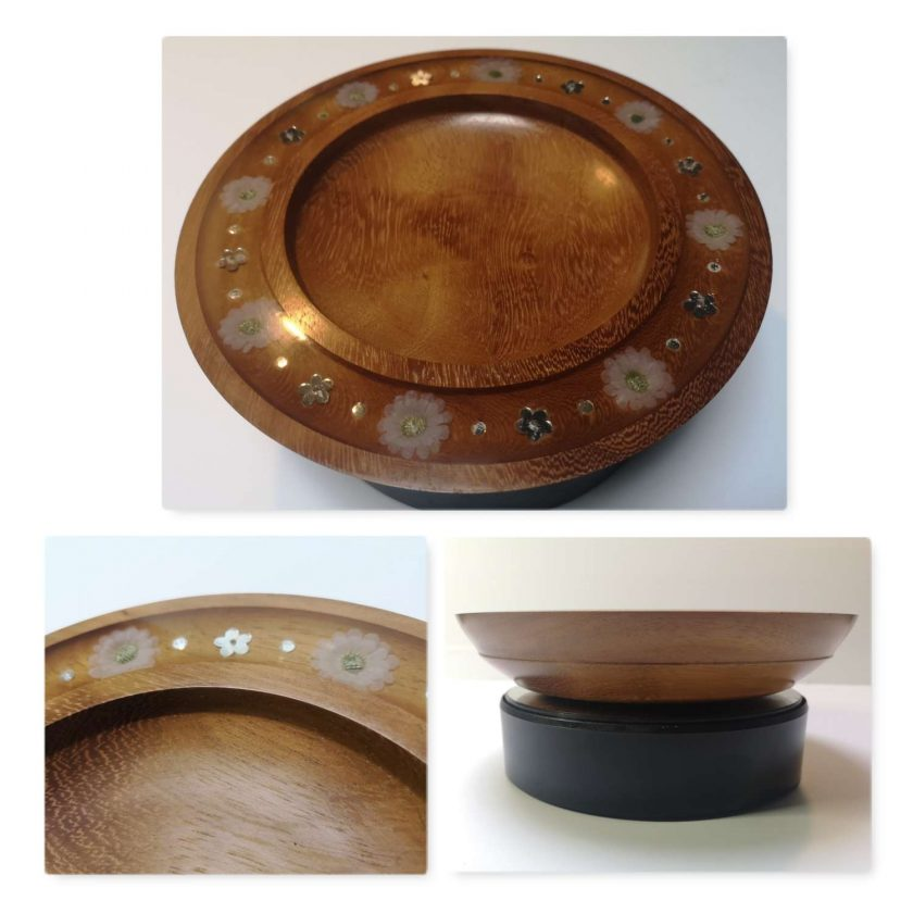 Iroko Bowl with silk flowers