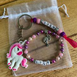 Personalised Unicorn Keyring & Bracelet Set