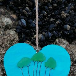 Handpainted Cornish tree  heart hanging plaque