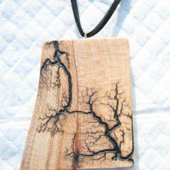 Lichtenberg Fractal Detailed Wooden Necklace One Of a Kind.