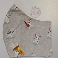 Disneys Frozen Olaf winter themed machine washable, re-usable, 2-layer fabric face mask with pocket for additional filter. 5 sizes available. Matching scrunchie available.