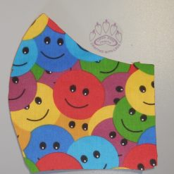 Colourful smilies machine washable, re-usable, 2-layer fabric face mask with pocket for additional filter. 5 sizes available. Matching scrunchie available.