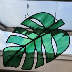 Monstera Glass- Stained Glass Monstera Leaf Suncatcher - Large