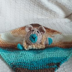 Baby Comforter Cloth, Critter-Cloths, Baby Snuggle Cloth: Multi-Blue, Light Brown