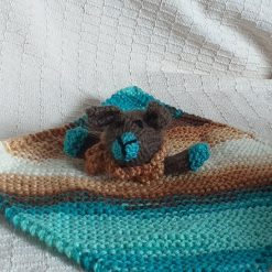 Baby Comforter Cloth, Critter-Cloths, Baby Snuggle Cloth: Multi-Blue, Dark Brown