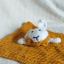 Baby Comforter Cloth, Critter-Cloths, Baby Snuggle Cloth: Mustard