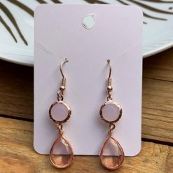 Rose Gold & Blush Pink Drop Earrings