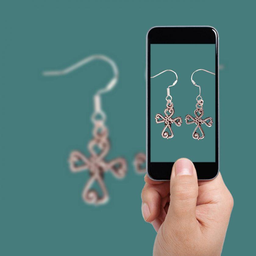 Earrings, Filigree Cross - Choice of Ball Studs or Wire Hooks 1