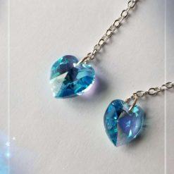 Blue heart shape crystal earrings