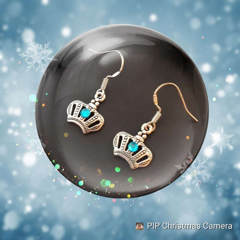 Earrings, Frozen Princess Crown - Choice of Ball Studs or Wire Hooks 1