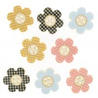 Buttons - Dress It Up - Plaid Flowers
