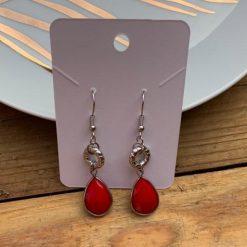 Ruby Red Gemstone Drop Earrings